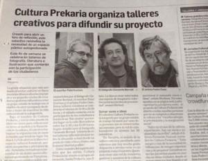 Foto: Ayer en Diario de Navarra, un artículo sobre los talleres que junto Pedro Osés y Clemente Bernad daremos para ir preparando las jornadas del grupo Cultura PreKaria